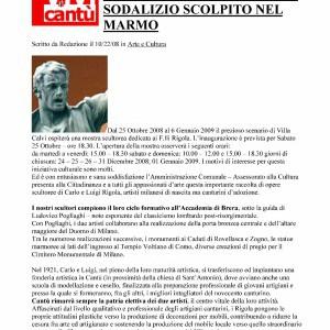 2008 22 Ottobre Vivicantu Mostra Scultori Rigola