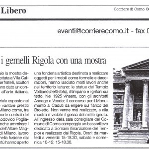 2008 28 Dicembre il Corriere di Como Mostra Rigola Scultori